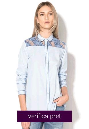 Camasa in nuante de albastru cu insertii transparente