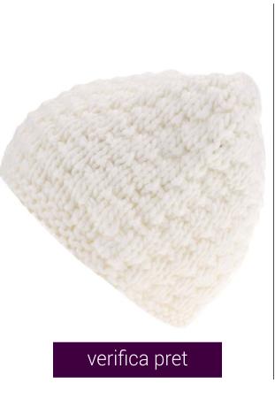 Caciula tricotata alb-murdar