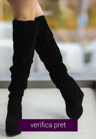 Cizme peste genunchi Betyna negre