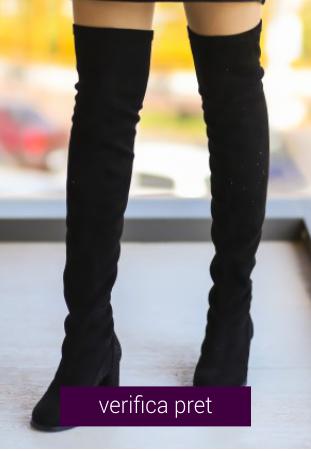 Cizme peste genunchi Ella negre
