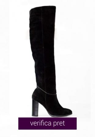 Cizme peste genunchi Thea Visconti tubulare, din piele naturala