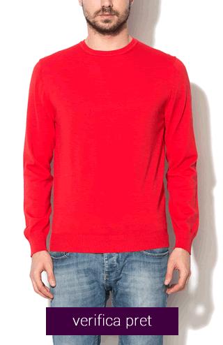 Pulover de barbati rosu tricotat fin