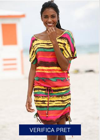 rochie de plaja colorata cu bentite