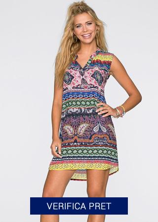 rochie de plaja cu imprimeu colorat