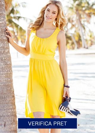 rochie de plaja galbena