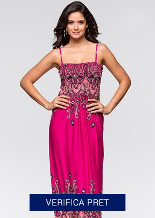 rochie de plaja lunga roza