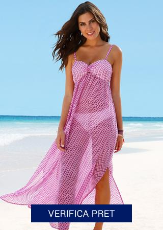 rochie de plaja roza