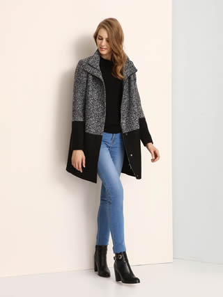 palton de dama gri cu negru
