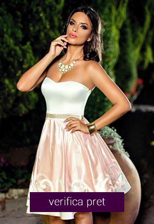 Rochie alb cu roz Julieta