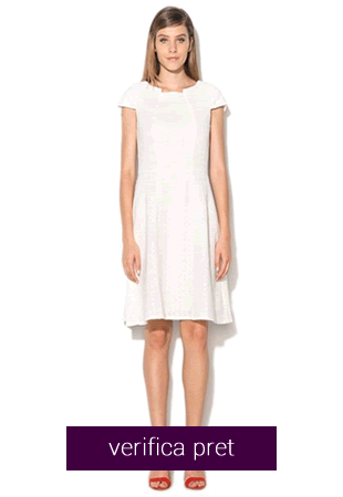 Rochie alb unt texturata cu croiala