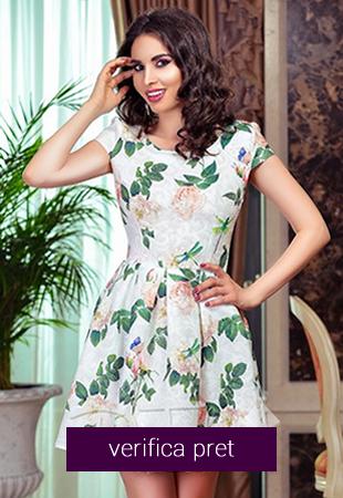Rochie alba de zi cu imprimeuri florale