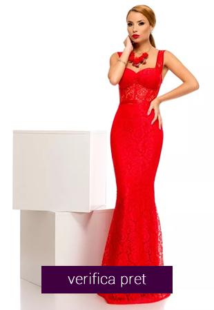 Rochie lunga de seara din dantela rosie