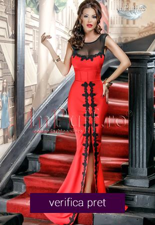 Rochie lunga rosie cu broderie neagra