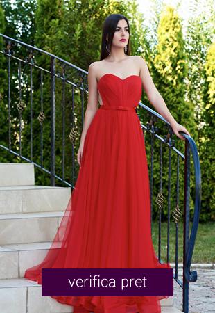 Rochie rosie din voal fara maneci