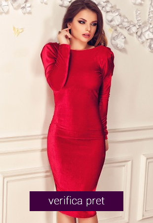 Rochie eleganta rosie, confectionata din catifea
