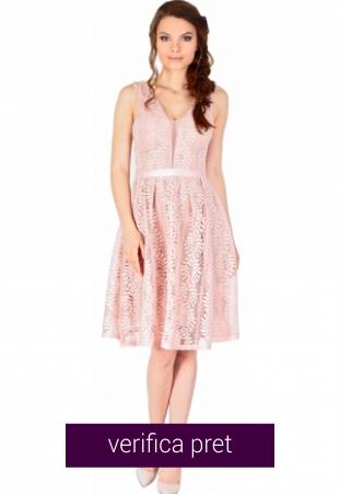 Rochie de ocazie roz scurta cu dantela