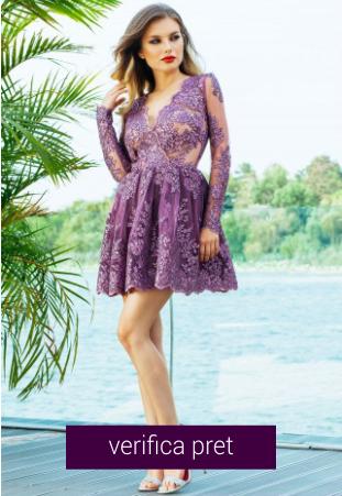 Rochie de seara scurta dantela pretioasa lila