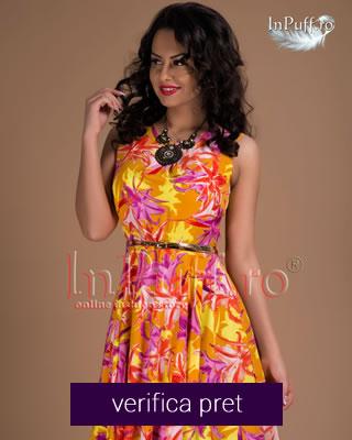 Rochie cu imprimeu galben- portocaliu