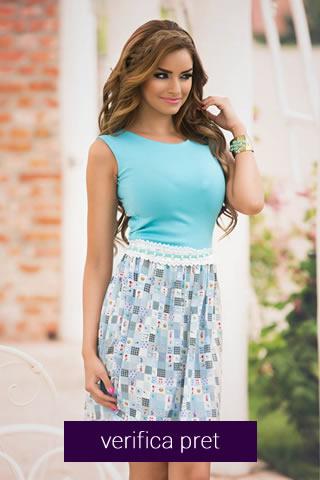 Rochie de vara elastica, culoarea albastra