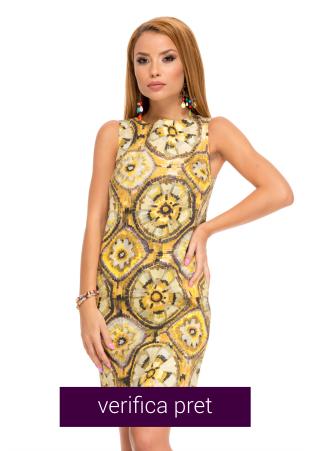 Rochie casual eleganta galbena cu imprimeu