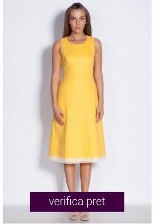 Rochie de dama in galben cu dantela tricotata