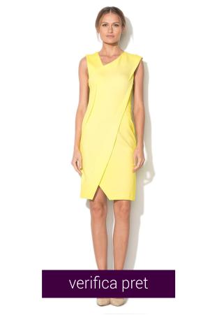 Rochie galben citrine elastica cu decolteu asimetric