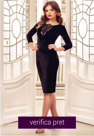 Rochie eleganta din catifea neagra cu dantela