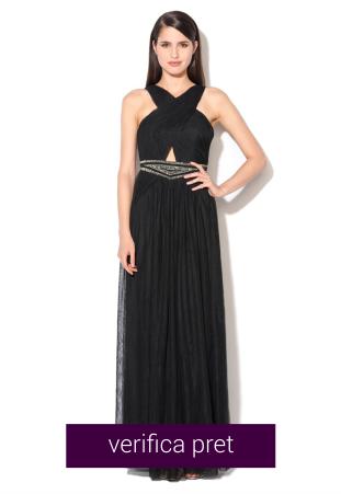 Rochie lunga neagra cu decoratiuni si design incrucisat