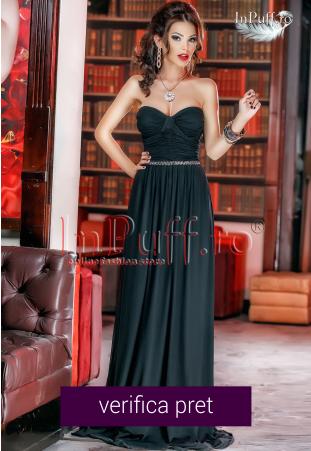 Rochie lunga neagra din tul