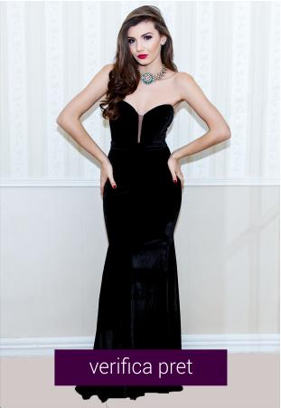 Rochie neagra lunga de catifea