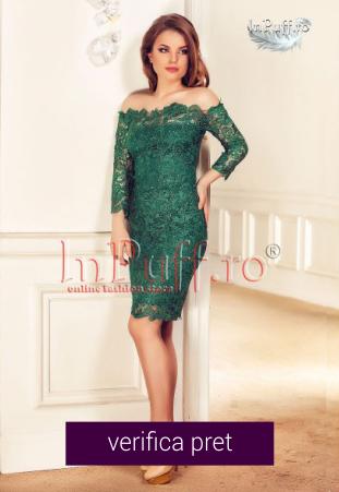 Rochie de seara verde broderie paietata