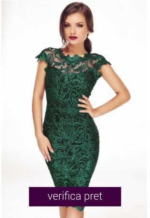 Rochie din dantela conica eleganta verde smarald