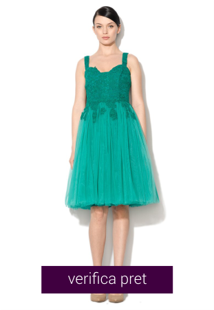 Rochie eleganta verde smarald din dantela si tul