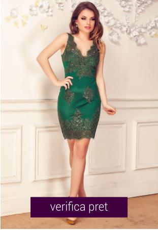 Rochie scurta de seara din dantela verde smarald