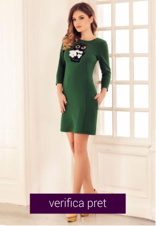 Rochie scurta verde de zi cu bufnita