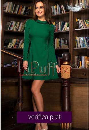 Rochie scurta verde inchis cu maneca lunga