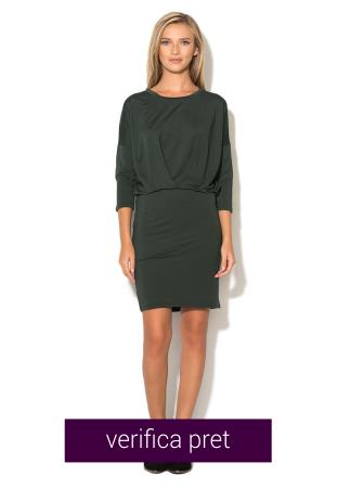 Rochie verde inchis cu design drapat Joanna