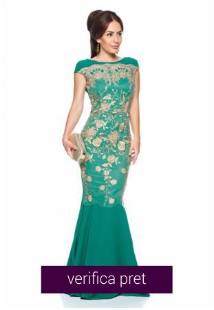 Rochie verde lunga eleganta