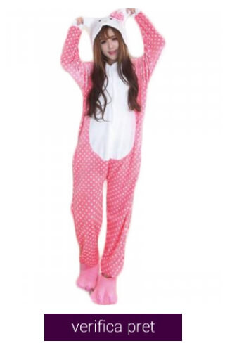 pijama pufoasa hello kitty cu buline